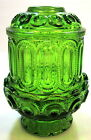 Vintage L. E. Smith Green Glass Fairy Lamp ~ Stars and Moon Pattern
