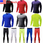 Men T Shirt Compression Long Pants Base Under Layer Workout Sport Tight Fitness