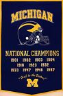 Michigan WOLVERINES 11x National Champions Banner Fridge Magnet 25 x 35