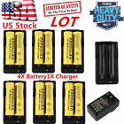 4pcs 18650 3.7V 9800mAh Li-ion Rechargeable Battery+Charger For Flashligh BH LOT