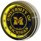 University of Michigan Sign 16 Yellow Neon Lighted Wall Clock Chrome Man Cave