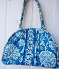 Vera Bradley blue  white quilted canvas w metal framed kiss lock top center