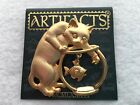 Artifacts Cat Kitten with Fish in Bowl Gold Tone Pin Brooch-New on Card