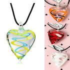 Clear Glass Heart Murano Lampwork Inspired Pendant Necklace Leather Chain Charms