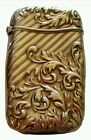Antique Victorian Gold Plate Fancy Match Safe Vesta Case Stick Box