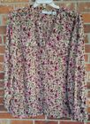 SAG HARBOR Plus Size 2X Pink Green Floral Semi Sheer Blouse Roll Tab Sleeves