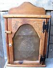 VINTAGE WOOD & PUNCHED COPPER PINEAPPLE STYLE CABINET HOME & GARDEN KITCHEN RACK