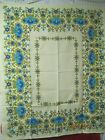 Vintage linen cotton German Tablecloth yellow gold blue turquoise