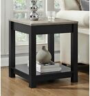 Carver Accent Side End Table Matte Black Sonoma Oak Rustic Square Bottom Shelf