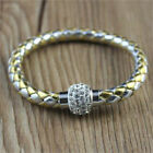 Leather Clasp Magnetic Bracelets Braided Handmade Magnet Stainless Steel Silver
