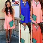 USA Women Chiffon Sleeveless Baggy Mini Dress Summer Beach Party Sundress S-5XL