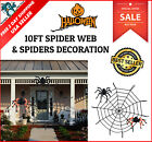 Two Giant Spiders and 10 Feet Spider Web Halloween Haunted House Prop Decoration