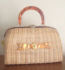 Vintage 1940's Wicker Basket Handbag Purse Hand Made in British Hong Kong