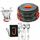 16pcs Camping Cookware Stove Carabiner Folding Spork Set TM Outdoor Bowl Cooking