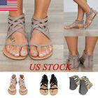 US Womens Summer Strappy Gladiator Flats Flip Flops Ladies Sandals Flats Shoes