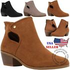 NEW Womens Perforated Cutout Chunky Block Stacked Heels Ankle Booties Boots