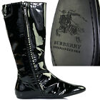 sz 36 650 BURBERRY Black Patent Leather MOD MID CALF Fall FLAT BOOTS Made ITALY