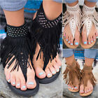 Womens Bohemian Tassels Fringe Sandals Flat Flip Flops Summer Beach Casual Shoes
