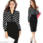 Women Long Sleeve Polka Dot Vintage Pinup Casual Office Work Party Bodycon Dress