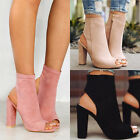 Womens Ladies Platform High Block Heel Sandals Open Toe Ankle Boots Shoes Size