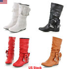 Womens Cute Slouch Casual Flat Heel Mid Calf Round Toe Boot Shoes Hidden Wedge