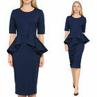 DARK BLUE MARYCRAFTS WOMENS CLASSY PEPLUM PENCIL FOR WORK BUSINESS OFFICE CHURCH