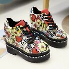 Women Wedge Shoes Platform Running Sneakers Heel Lace Up High Top Lace Up new