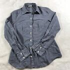 Converse One Star Womans Grey Button Down Roll Up 3 4 Sleeve size Small