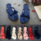 WOMENS LADIES TOE BOW JELLY SUMMER FLAT FLIP FLOP THONG SANDALS SLIPPERS SIZE