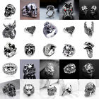 Hot Mens Stainless Steel Gothic Punk Skull Silver Ring Fashion Jewelry Size8 10