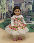 American Girl Edwardian Pink Rose Print Dress w Striped Contrast