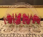 Vintage serving set floral tumblers glasses with wire carrier holder
