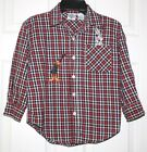 Acme Kids Button Front Shirt Bugs  Daffy Red Plaid Small