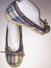SPERRY TOP SIDERBlue Plaid Canvas Ballet Flat Size 95 M