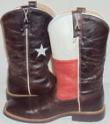 Twisted X Youth Chocolate distressed leather Texas Flag Square Toe Boot YCW0007