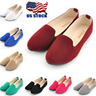 US Womens Slip On Suede Ballet Flats Ladies Soft Ballerina Ballet Shoes Size 5 8