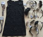 Boutique Formal Pageant Girls Dress Sz 10 Black Beaded Lace CHOICE of 1 Headband