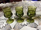 3 Indiana kings crown thumb print full size large wine glass goblets mossy green