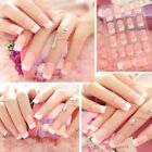 24Pcs Lady Womens French Style Long Manicure Art Tips False Nails Tool Gift DIY