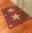 PRIMITIVE COUNTRY HANDMADE STENCILED STAR CANVAS FLOORCLOTH HOME RUG BARN RED