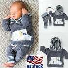 Newborn Baby Boy Girl Clothes Striped Hooded Tops Jacket +Pants 2PCS Outfits Set