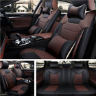 Front+Rear Auto Seat Covers Microfiber PU Leather Cushion +Pillow For 5 Seat Car