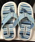 SKECHERS BLUE  WHITE STRIPE FLIP FLOP THONG WEDGE SANDAL SIZE 6 1 2 7 USED