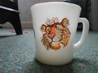 VINTAGE FIRE KING MILK GLASS MUG, TONY THE TIGER, STICKER, D HANDLE, NICE