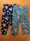 Baby Girls Toddler Flower Print Sweatpants Size 24 Months 2 Pairs