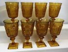 Indiana Glass Company Mt. Vernon Amber Glass Goblet Wine Water Lot Of 8