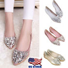 US Womens Rhinestones Slip on Pointed Toe Comfort Loafers Flats Shoes Size 45 8