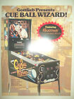 1992 Gottlieb CUE BALL WIZARD Pinball Flyer!