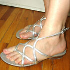 mossimo metallic silver gladiator lattice flat sandals 8 M NEVER WORN outside