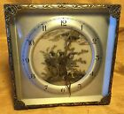 Antique English 1920s CHINOISERIE Easel Clock w Rickshaw Scene Ormolu Frame